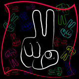 The gesture of the hand with outstretched with two fingers. Symbol gesture victory in different design and color scheme Stock Photos