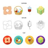 Gesture of the hands in support, a basket with food for charity, donor blood, a gift donation box. Charity and donation. Set collection icons in cartoon,outline Stock Photos