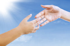 Gesture of handshake outdoors Royalty Free Stock Photo