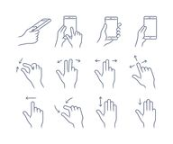 Gesture icon set. Gesture touch icons for a mobile application manual. User interface gesture icon set Stock Image