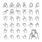 Gesture icon set. Touch gestures icon set for a mobile application. Gesture symbols for user interface. Vector illustration Royalty Free Stock Photography