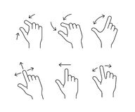 Gesture icon set. Gesture touch icons with arrows. Clean vector icons for a mobile application. User interface or manual gesture icon set Stock Photography