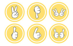 Gesture icon set. 6 type of hands isolated on white Royalty Free Stock Image