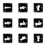 Gesture icons set, grunge style. Gesture icons set. Grunge illustration of 9 gesture vector icons for web Stock Photography