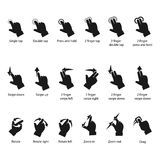 Gesture icons for touch devices. Icon set for different types of touch devices Stock Photos