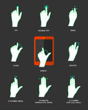 Gesture icons for touch devices. Hands using computer screens, tablets, and phones. Editable vector icons for video, mobile apps, Web sites and print projects Stock Image