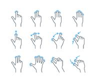 Gesture icons. Touchscreen gesture icons for smartphones. Linear icon set for a mobile app or user interface. Vector illustration Royalty Free Stock Photos