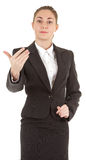 Gesture of invitation. Woman in business clothing show gesture of invitation Stock Images
