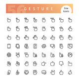 Gesture Line Icons Set. Set of 56 touch screen hand gestures line icons suitable for ui, web, mobile application and touch devices. Isolated on white background Stock Image
