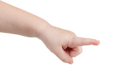 Gesture, a lovely child's hand indicates the direction Royalty Free Stock Photos
