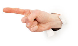 Gesture male hand through white paper Stock Image