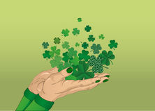 The gesture of the open hand. From the hands of fly sheets clover Stock Image