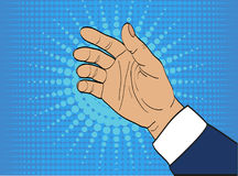 Gesture open palm. Hand gives or receives. Retro style pop art. Vector illustration. Empty space for advertising Stock Photo