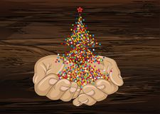The gesture of open palms. Confetti in the shape of a Christmas. Tree flies out of his hands. Vector. New year, winter. Greeting card for holiday on a wooden royalty free illustration