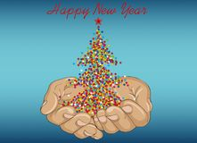 The gesture of open palms. Confetti in the shape of a Christmas. Tree flies out of his hands. Vector. New year, winter. Greeting card for holiday on a wooden stock illustration