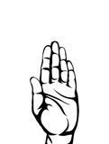 Gesture open palms. Hand gives or receives. Contour graphic. Style. Black and white. Vector illustration on white background. Empty space for advertising Royalty Free Stock Image