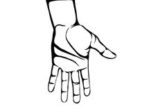 Gesture open palms. Hand gives or receives. Contour graphic style. Gesture open palms.Hand gives or receives. Contour graphic style. Black and white. Vector Stock Photo