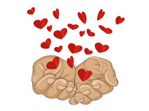 Gesture open palms. From stacked hands fly red heart. Vector Royalty Free Stock Photos