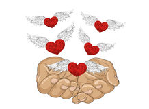 Gesture open palms. From stacked hands fly red heart with wings. Royalty Free Stock Photo