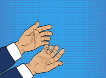Gesture open palms.Two Hands gives or receives. Retro style pop Royalty Free Stock Photos
