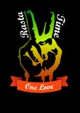The gesture of peace Rasta time banner for design. And design in the form of a hand with two fingers outstretched in Rasta colors Vector Illustration