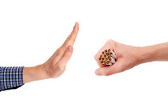 The gesture of refuse the offer of cigarettes batch Royalty Free Stock Image