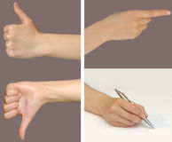 Gesture set 1. Female hands showing different gestures such as excellent, bad, a hand pointing at something and writing with a pen Royalty Free Stock Images