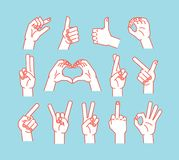 Gesture set. Stulized hands showing different signs. Vector. Icons. Gesture set. Stulized hands showing different signs. Vector illustration on blue background Royalty Free Stock Photography