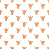 Gesture shaka pattern, cartoon style Royalty Free Stock Photo