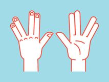 Gesture. Spock sign. Vulcan greet. Stylized hand for geek hand game. Icon. Vector illustration on a blue background. Orange lines and white silhouette. Element Stock Photos