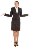 Gesture of surprise. Woman in business clothing show gesture of surprise Stock Photos
