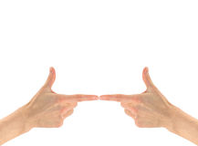 Gesture of two hand pointing finger Royalty Free Stock Images