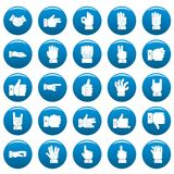 Gesture vector icons set blue, simple style. Gesture icons set blue. Simple illustration of 25 gesture vector icons for web Stock Images