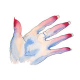 Gesture with your fingers. A woman`s hand. Watercolor illustration. Gesture with your fingers. A woman`s hand. Isolated on white background. Watercolor Royalty Free Stock Photography