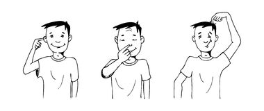 Gestures. Illustration of a boy doing gestures, black and white version. Useful also for educational or coloring books for kids. You can find other b/w vector illustration