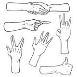 Gestures arms stop, palm, thumbs up, finger pointer, ok, like and pray or handshake, fist and peace or rock n roll. Engraved hand drawn in old sketch style Royalty Free Stock Photo