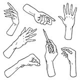 Gestures arms stop, palm, thumbs up, finger pointer, ok, like and pray or handshake, fist and peace or rock n roll. Engraved hand drawn in old sketch style Stock Photos