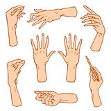 Gestures arms stop, palm, thumbs up, finger pointer, ok, like and pray or handshake, fist and peace or rock n roll. Engraved hand drawn in old sketch style Stock Images