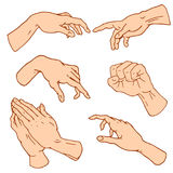 Gestures arms stop, palm, thumbs up, finger pointer, ok, like and pray or handshake, fist and peace or rock n roll. Engraved hand drawn in old sketch style Stock Photo