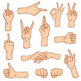 Gestures arms stop, palm, thumbs up, finger pointer, ok, like and pray or handshake, fist and peace or rock n roll. Engraved hand drawn in old sketch style vector illustration