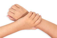 Gestures of children's hands Stock Photo