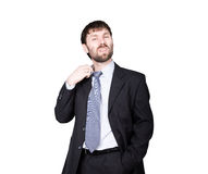 Gestures distrust lies. body language. man in business suit, gesture pulling the collar. isolated on white background. Concept of true or false Royalty Free Stock Images
