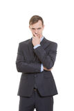 Gestures distrust lies. body language. man in Royalty Free Stock Image