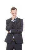 Gestures distrust lies. body language. man in Royalty Free Stock Photo