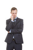 Gestures distrust lies. body language. man in Royalty Free Stock Photography