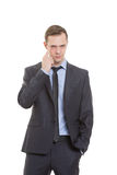 Gestures distrust lies. body language. man in Stock Image