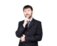 Gestures distrust lies. body language. man in business suit,  stroking the chin. isolated on white background. concept. Of true or false Royalty Free Stock Photos