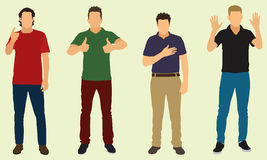 Gestures. Four men making various gestures dressed in casual clothes vector illustration