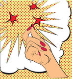 Gestures hand, a snap of the fingers, sparks of red stars. Sketch in style pop art, comics. Call attention and. Information using finger. Female hand made in Royalty Free Stock Image