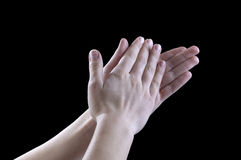Gestures of hands, applause. Sign Language, a man a man slaps his palms of hands, the international language of gestures mean endorsement of joy and praise, the Royalty Free Stock Photography